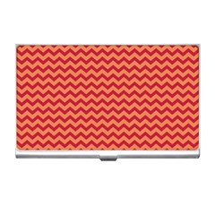 Chevron Wave Red Orange Business Card Holders by Mariart