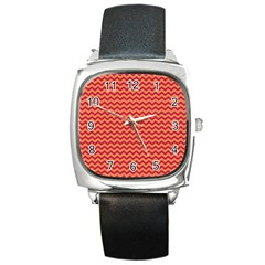 Chevron Wave Red Orange Square Metal Watch by Mariart