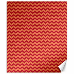 Chevron Wave Red Orange Canvas 20  X 24   by Mariart