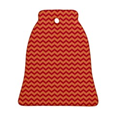 Chevron Wave Red Orange Bell Ornament (two Sides) by Mariart