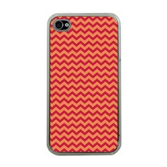 Chevron Wave Red Orange Apple Iphone 4 Case (clear) by Mariart