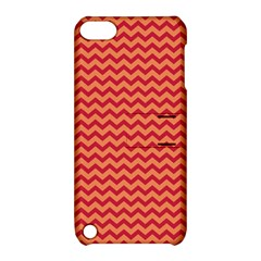 Chevron Wave Red Orange Apple Ipod Touch 5 Hardshell Case With Stand by Mariart