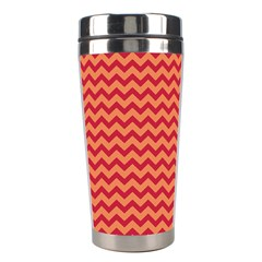 Chevron Wave Red Orange Stainless Steel Travel Tumblers by Mariart