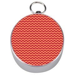 Chevron Wave Red Orange Silver Compasses by Mariart