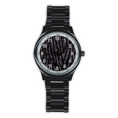 Skin4 Black Marble & Black Watercolor (r) Stainless Steel Round Watch by trendistuff