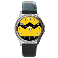 Chevron Wave Yellow Black Line Round Metal Watch by Mariart