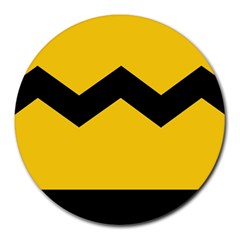 Chevron Wave Yellow Black Line Round Mousepads by Mariart