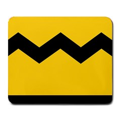 Chevron Wave Yellow Black Line Large Mousepads by Mariart