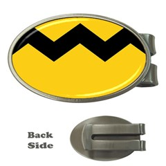 Chevron Wave Yellow Black Line Money Clips (oval)  by Mariart
