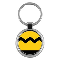 Chevron Wave Yellow Black Line Key Chains (round)  by Mariart