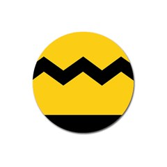 Chevron Wave Yellow Black Line Magnet 3  (round) by Mariart