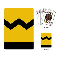 Chevron Wave Yellow Black Line Playing Card by Mariart