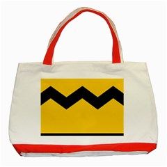 Chevron Wave Yellow Black Line Classic Tote Bag (red) by Mariart