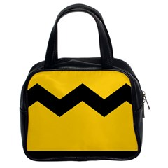 Chevron Wave Yellow Black Line Classic Handbags (2 Sides) by Mariart