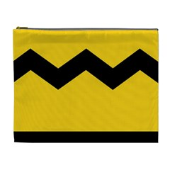 Chevron Wave Yellow Black Line Cosmetic Bag (xl) by Mariart