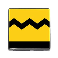 Chevron Wave Yellow Black Line Memory Card Reader (square) by Mariart