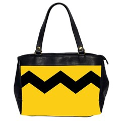 Chevron Wave Yellow Black Line Office Handbags (2 Sides)  by Mariart