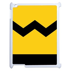 Chevron Wave Yellow Black Line Apple Ipad 2 Case (white) by Mariart