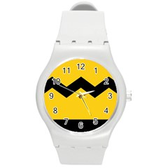 Chevron Wave Yellow Black Line Round Plastic Sport Watch (m) by Mariart