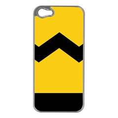 Chevron Wave Yellow Black Line Apple Iphone 5 Case (silver) by Mariart