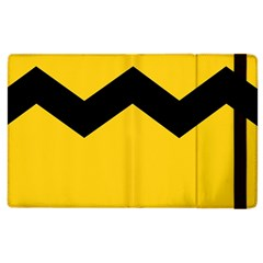 Chevron Wave Yellow Black Line Apple Ipad 3/4 Flip Case by Mariart