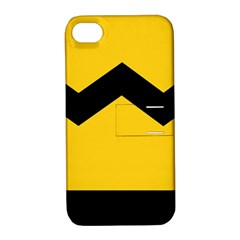 Chevron Wave Yellow Black Line Apple Iphone 4/4s Hardshell Case With Stand by Mariart