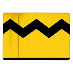 Chevron Wave Yellow Black Line Samsung Galaxy Tab 10 1  P7500 Flip Case by Mariart