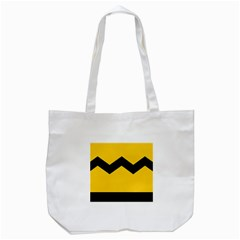 Chevron Wave Yellow Black Line Tote Bag (white) by Mariart