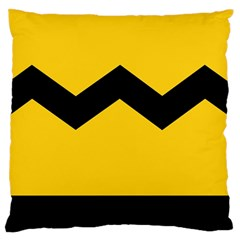 Chevron Wave Yellow Black Line Large Flano Cushion Case (two Sides) by Mariart