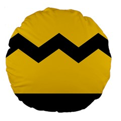 Chevron Wave Yellow Black Line Large 18  Premium Flano Round Cushions by Mariart