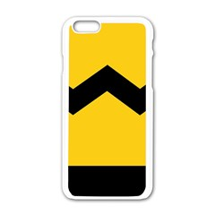 Chevron Wave Yellow Black Line Apple Iphone 6/6s White Enamel Case by Mariart