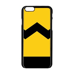 Chevron Wave Yellow Black Line Apple Iphone 6/6s Black Enamel Case by Mariart