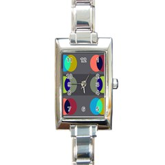 Circles Line Color Rainbow Green Orange Red Blue Rectangle Italian Charm Watch by Mariart