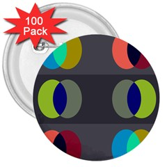 Circles Line Color Rainbow Green Orange Red Blue 3  Buttons (100 Pack)  by Mariart