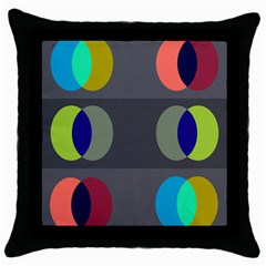 Circles Line Color Rainbow Green Orange Red Blue Throw Pillow Case (black) by Mariart