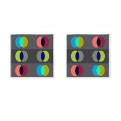 Circles Line Color Rainbow Green Orange Red Blue Cufflinks (square) by Mariart