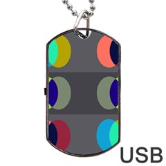 Circles Line Color Rainbow Green Orange Red Blue Dog Tag Usb Flash (one Side) by Mariart