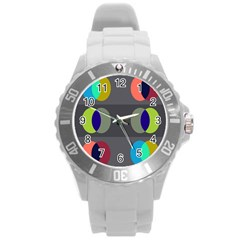 Circles Line Color Rainbow Green Orange Red Blue Round Plastic Sport Watch (l) by Mariart