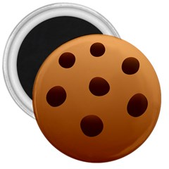 Cookie Chocolate Biscuit Brown 3  Magnets by Mariart