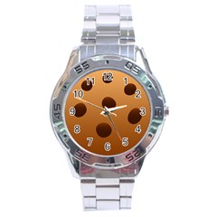 Cookie Chocolate Biscuit Brown Stainless Steel Analogue Watch by Mariart