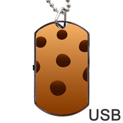 Cookie Chocolate Biscuit Brown Dog Tag Usb Flash (two Sides) by Mariart
