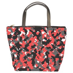 Bloodshot Camo Red Urban Initial Camouflage Bucket Bags by Mariart