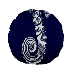 Coral Life Sea Water Blue Fish Star Standard 15  Premium Round Cushions