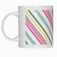 Diagonal Stripes Color Rainbow Pink Green Red Blue White Mugs by Mariart