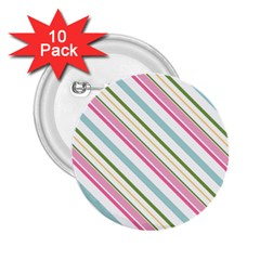 Diagonal Stripes Color Rainbow Pink Green Red Blue 2 25  Buttons (10 Pack)
