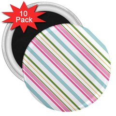 Diagonal Stripes Color Rainbow Pink Green Red Blue 3  Magnets (10 Pack)