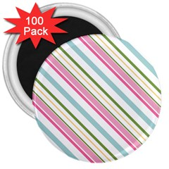 Diagonal Stripes Color Rainbow Pink Green Red Blue 3  Magnets (100 Pack) by Mariart