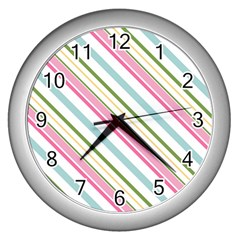 Diagonal Stripes Color Rainbow Pink Green Red Blue Wall Clocks (silver)  by Mariart