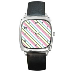 Diagonal Stripes Color Rainbow Pink Green Red Blue Square Metal Watch by Mariart
