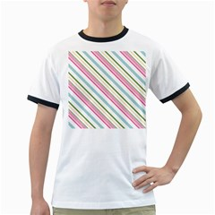 Diagonal Stripes Color Rainbow Pink Green Red Blue Ringer T Shirts by Mariart